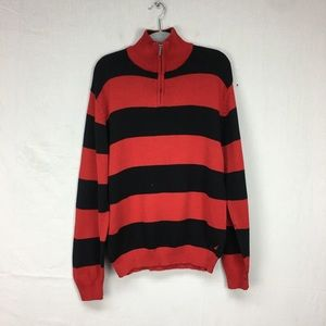 Nautica Red/Black Striped Quarter Zip Sweater